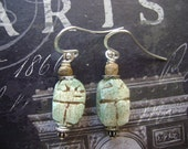 Vintage Scarab Beetle Earrings- Faience- Vintage Fusion - Egyptian- Ethnic - Sterling Silver