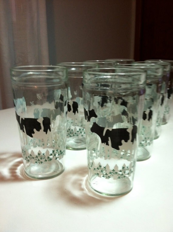 Vintage Cow Glasses 8 Anchor Jelly Glass