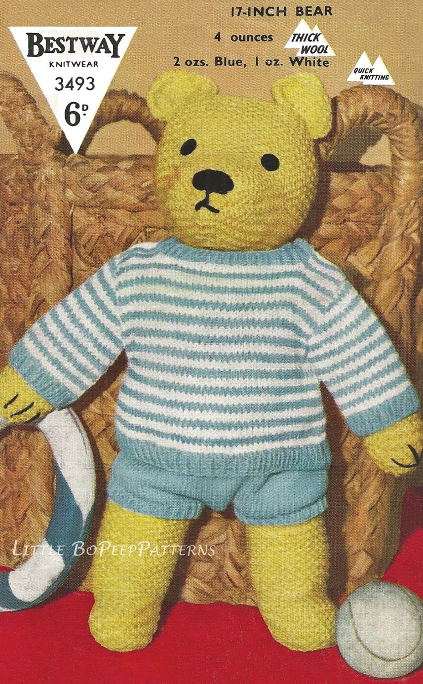 Teddy Bear to knit and clothes top and shorts knitting pattern