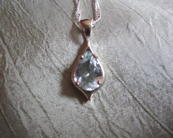 Ice Blue Natural Pear Aquamarine Sterling Silver Pendant