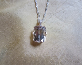 Natural Emerald Cut Kunzite Pendant