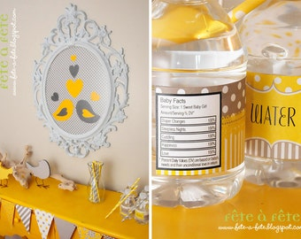 """SALE! Love """"Nesting Birds""""  Gender Neutral Yellow and Grey Baby Shower Party Editable & Printable Kit"""