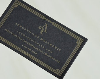 100 Black Letterpress Business Cards - 1 color 1 side