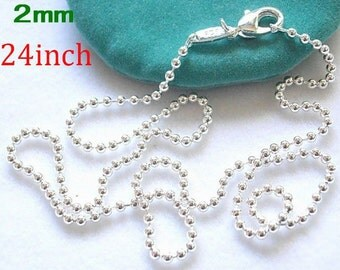 20pcs 24inch 2mm silver plated ball chain
