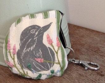 Bird Lavender Sachet, bird keyring,lavender sachet, hand printed bird, bird print, bird key ring, embroidered, gift for her, gift for mum