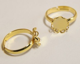 12 pcs of brass lace setting ring base for 9mm ring-M4005- 18k gold