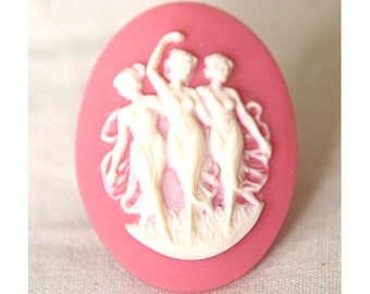 12 pcs of pink rose cameo 30x40mm -RC0155-Pink