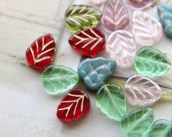 25 pcs multi mixture of Czech glass leave beads-8x10mm-9018-multi mixture colors