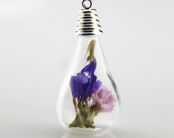 6 pcs glass  bottle with setting full set  with dried flower and charms inside  30mm height