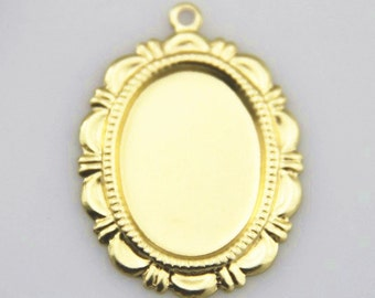 24 pcs  of brass mounting setting  for 13x18mm cameo  7548-18kgold