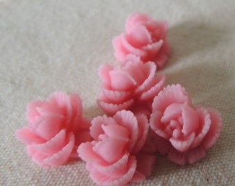 24  pcs of small flower resin rose cabochon 10mm-0009-36-new pink