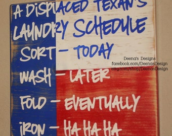 Laundry Schedule, Laundry Room Decor, Laundry Sign, Distressed Wood Signs, Distressed Wall Decor - Displaced Texan's Laundry Schedule