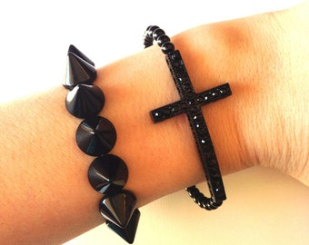 Black Spike Studded Sideways Rhinestone Cross Bracelet Set