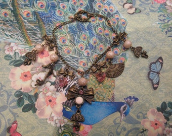 Sale, Pretty in Pink Steampunk Victorian charm bracelet