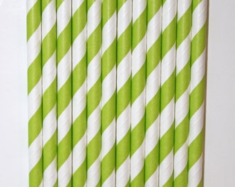 25 Pistachio striped straws paper straws birthday party event cake pop sticks Bonus diy straw flags