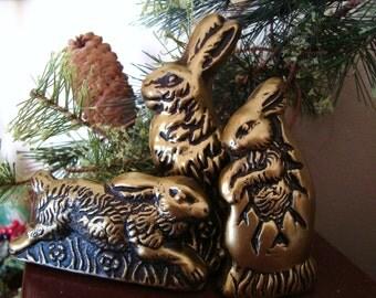 3 Antiqued Bronze BUNNY RABBIT Blackened Beeswax Primitive Chocolate Mold Wax Castings Folk Art