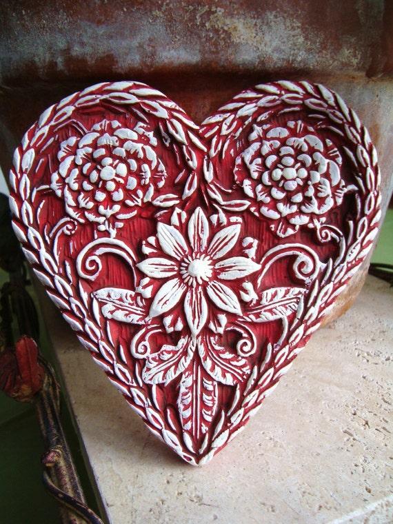 Dark Scarlet Red HEART Folk Art Ornament Wall Art Cast Stone Springerle Mold Vintage Shabby Chic Primitive