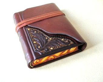 Leather Journal, Sketchbook, Burgundy Leather, Relief, Painted Edges, Gilding