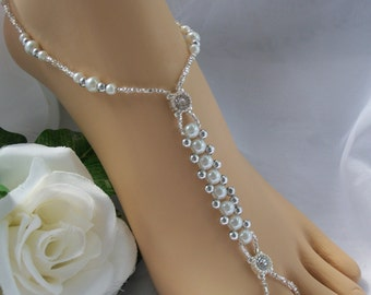 Pearl & Silver Bridal  Barefoot Sandal  Beach Wedding Bridal Foot Jewelry