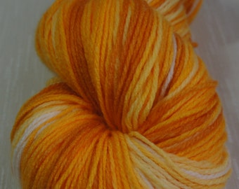 Hand Painted Yarn in Shades of Orange, White, Yellow 393 yrds, Knitting Supplies, Crochet Supplies