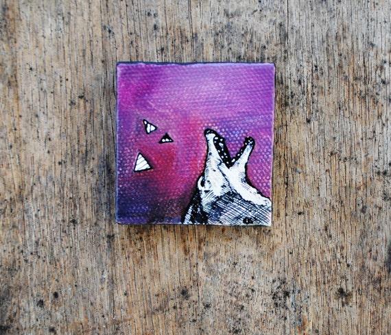 Coyote Howl - Original Painting - Plum.  Purple.  Fine Art.  Original Oil Painting.