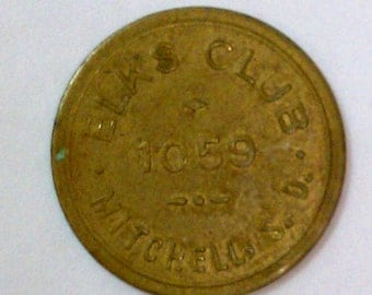 Antique Vintage Charity trade token Elk's Club 1059 Mitchell SD 25-cents