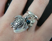 sea turtle and seashell ring sea turtle charm seashell  mermaid ring in beach hipster boho gypsy hippie and fantasy style