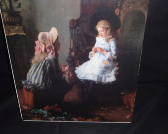 "Victorian Print Two Girls  Giclee Mounted and Sealed  16"" x 10"""