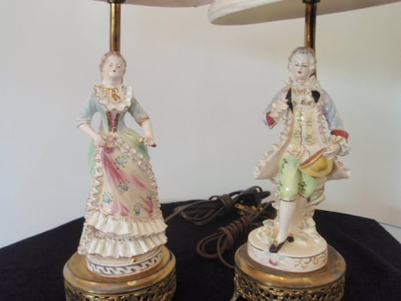 Victorian Lamps Victorian Man And Woman Vintage Collectible
