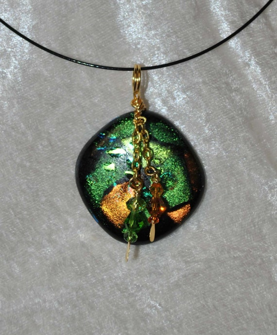 Sparkle green and gold diachroic pendant