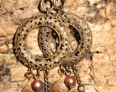 Statement Earrings, Long Dangle Earrings, Long Earrings, Filigree Hoop Earrings, Neutral Earrings, Brown Earrings, Brass Earrings