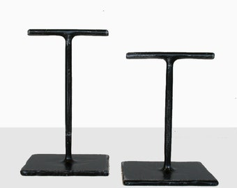 Mini Fabricated Steel T Stand (Set of 2) - Earring Holders - Dark Brushed Steel Jewelry Display
