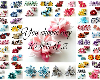 Kanzashi fabric flowers. You choose any 10 sets of 2.