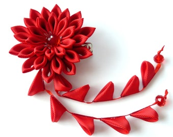 Red Kanzashi Fabric Flower hair clip with falls. Red geishas hair piece. Japanese hair clip. Red hair piece.