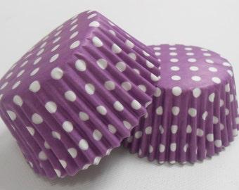 50 Purple And White Polka Dot Cupcake Liners / Baking Cups / Purple Cupcake Liners