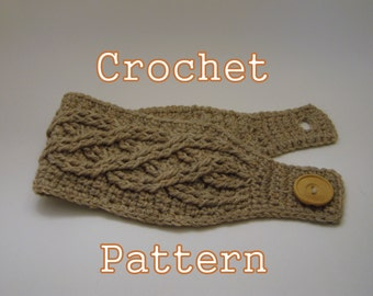 PDF Crochet Pattern - Celtic Cable Headband - Instant Download
