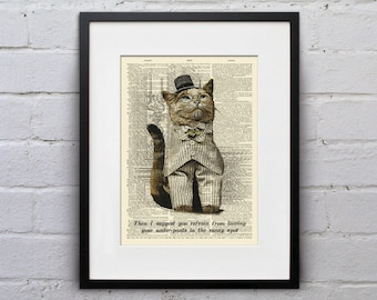 I's Not My Fault Your Under-Pants Are Furry... - Victorian Cat Dictionary Page Book Art Print - DPLJ021