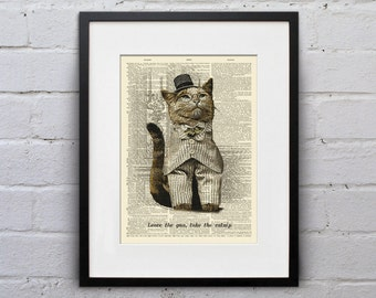 The Catfather - Victorian Cat Dictionary Page Book Art Print - DPLJ022