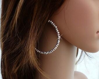 Crystal Cut Silver Hoop Earrings, Sparkly Hoops, Crystal Hoops, Crystal Hoop Earrings