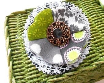 SALE Item, Christmas in July, Flower Brooch, Fabric Pin, Scrap Fabric Brooch, Flower Embellishment, Soft Fabric Pendant, Ruffle Flower Pin.
