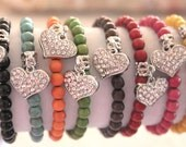 """Summer Clearance SALE & FREE SHIPPING Silver Rhinestone dangle heart charm bracelet with 6mm beads in a variety of colors 7"""""""