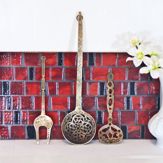 large wall hanging kitchen utensils spoon fork wall decor. Black Bedroom Furniture Sets. Home Design Ideas