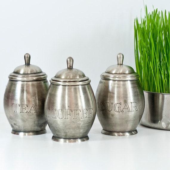 Vintage Set Of Jars Pewter Kitchen Storage Jars Canisters