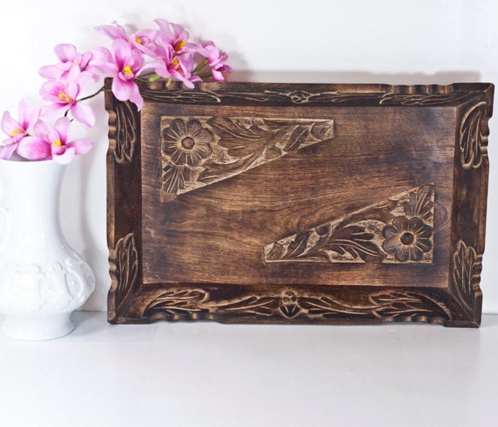 Sale ottoman wooden tray vintage hand carved decorative