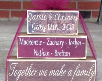 Blended family wood block set family names date and saying parents kids primitive gift home decor new marriage