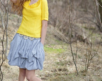 SALE |  Linen blouse | 100 %  linen | yellow top | knitted linen | One of the kind | Ready to ship | Bengi design