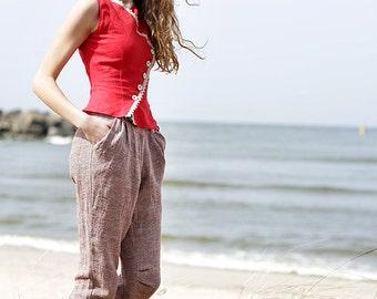 Linen pants, red gray capri pants eco friendly creased linen, handmade to order