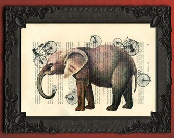 Elephant and bicycles wall art elephant print on dictionary paper