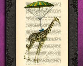 giraffe parachute art print giclee giraffe nursery wall art decor