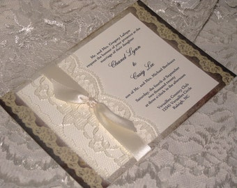 Lace Wedding Invitations 3, French Market Elegant, Shabby Chic, Vintage Inspired, Haute Couture Invitations